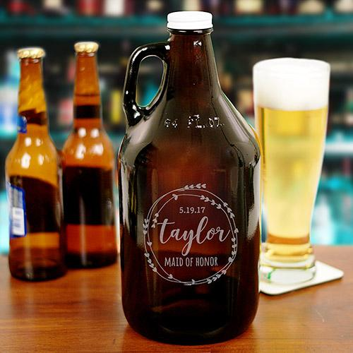 Personalized Bridal Party Beer Growler