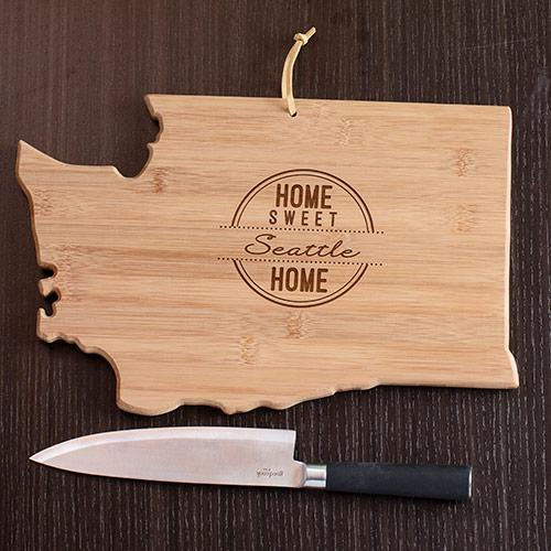 Personalized Home Sweet Home Washington State Cutting Board