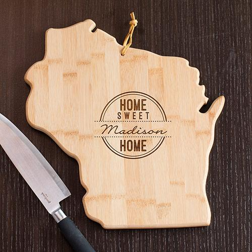 Personalized Home Sweet Home Wisconsin State Cutting Board