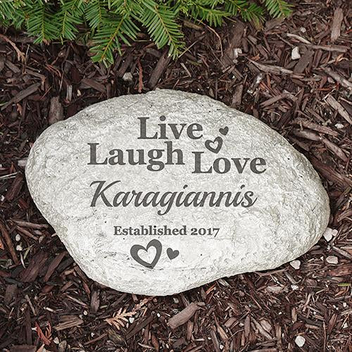 Personalized Live Laugh Love Large Garden Stone