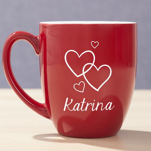 Personalized Engraved Valentine Red Bistro Mug - Valentine's Day Gift