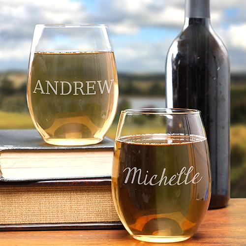 Personalized Engraved Any Name Stemless Wine Glass