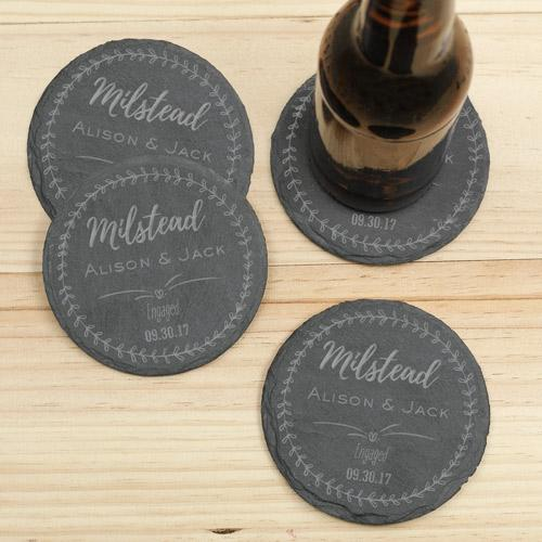 Personalized Engagement Slate Coaster Set