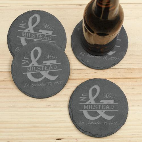 Personalized Mr. And Mrs. Slate Coaster Set
