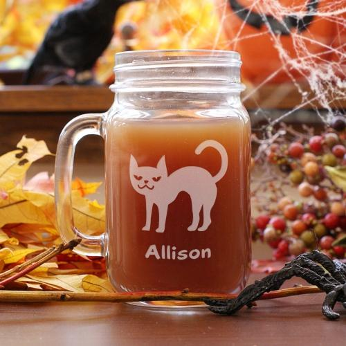 Personalized Engraved Halloween Cat Mason Jar