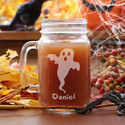 Personalized Engraved Halloween Ghost Mason Jar