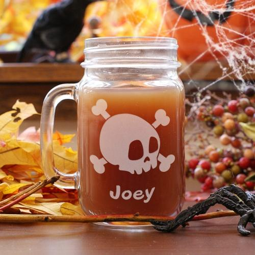 Personalized Engraved Halloween Skull Mason Jar