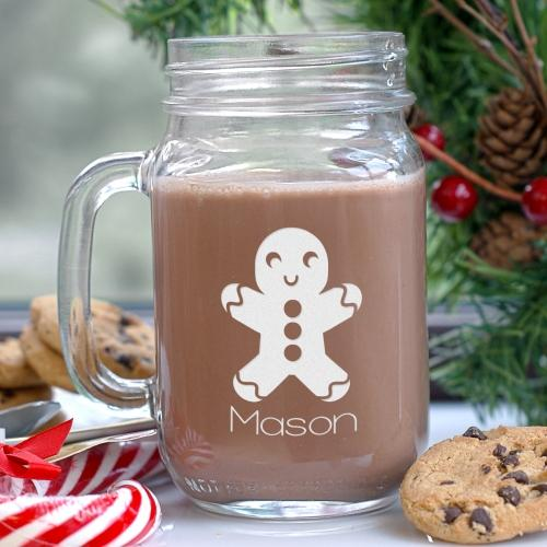 Personalized Engraved Gingerbread Mason Jar