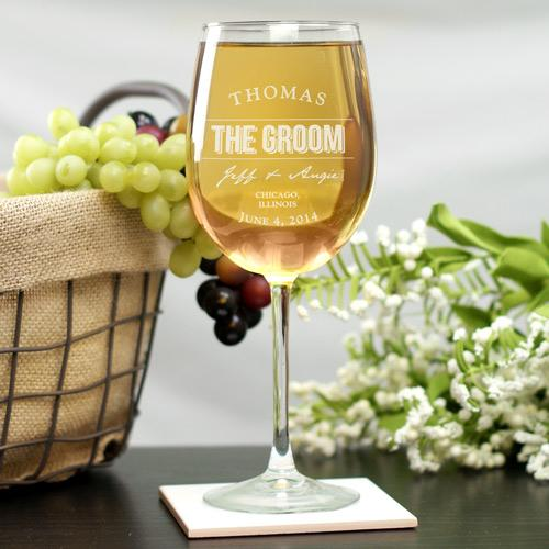 Personalized Engraved Wedding Party Wine Glass