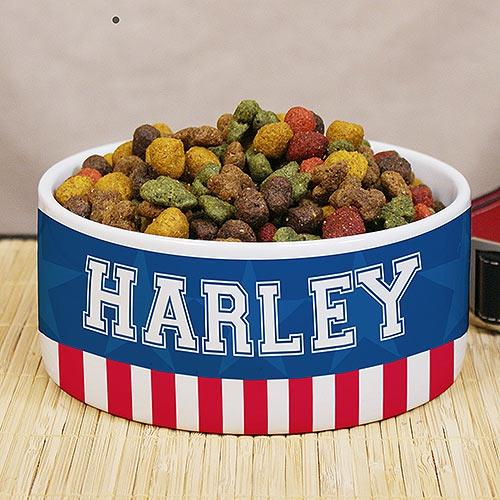 Personalized Patriotic Dog Bowl