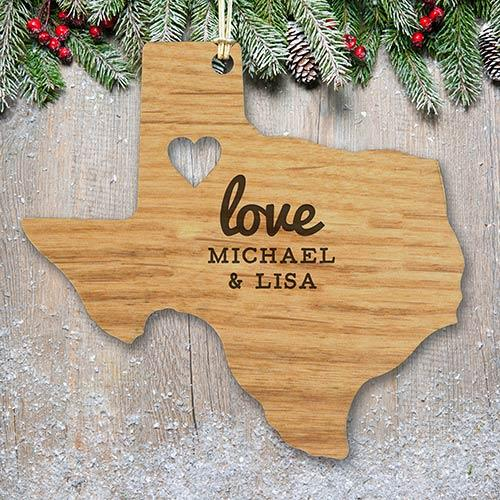 Personalized Engraved State Love Wood Cut Ornament