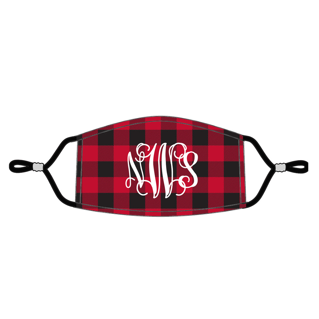 Red Buffalo Check - Monogrammed Face Masks for Adults - Patterned Fabric