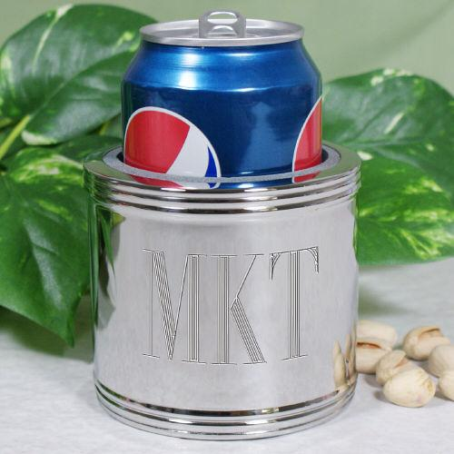 Personalized Silver Plated Engraved Can Cooler