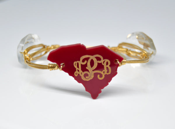 Personalized Engraved Monogram Bangle State Bracelet - Gifts Happen Here - 1