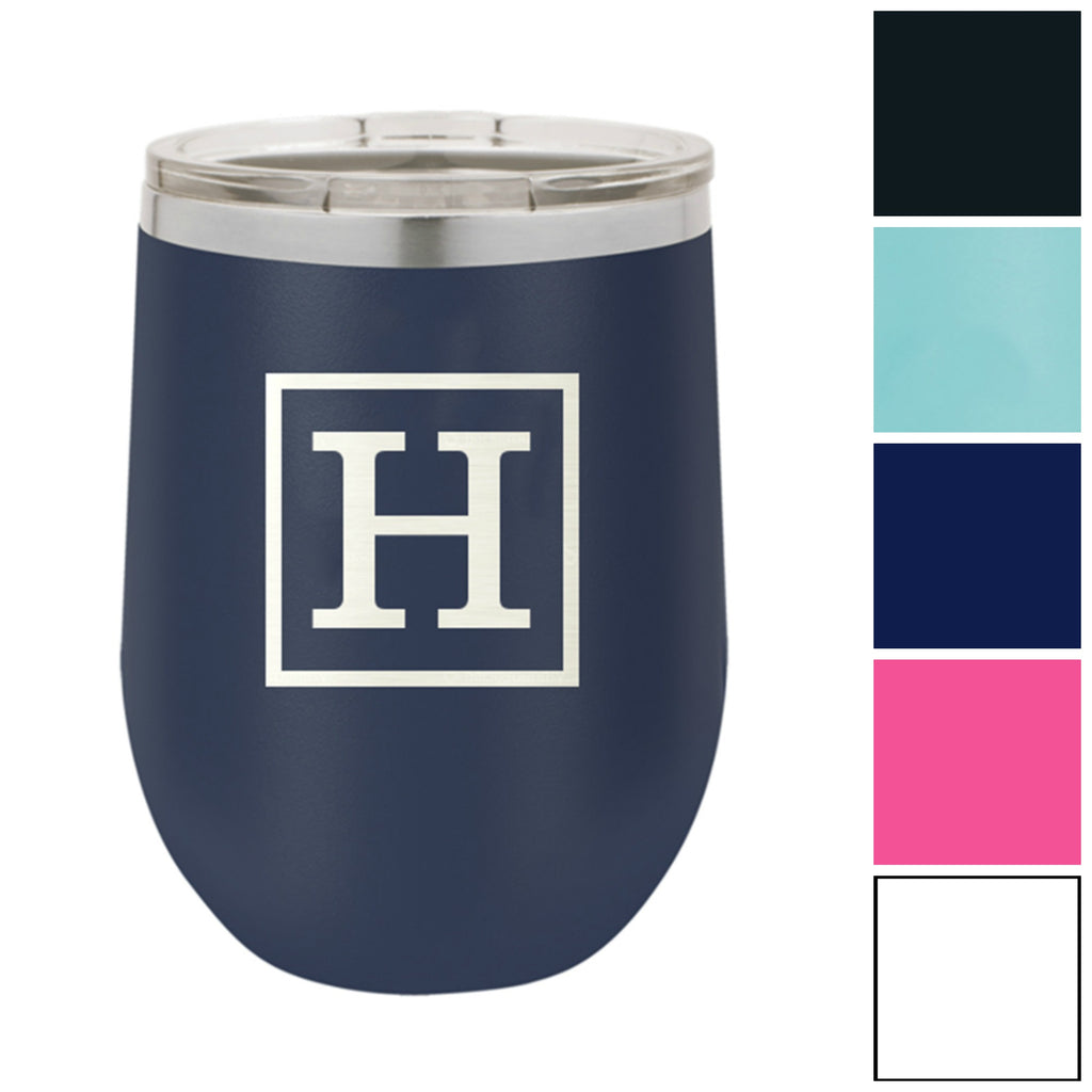 Classic Initial Monogram 12 oz. Insulated Stainless Steel Wine Tumbler