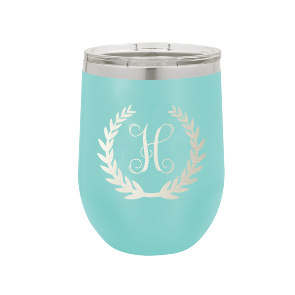 Wreath Single Initial Design 12 oz. Insulated Stainless Steel Wine Tumbler