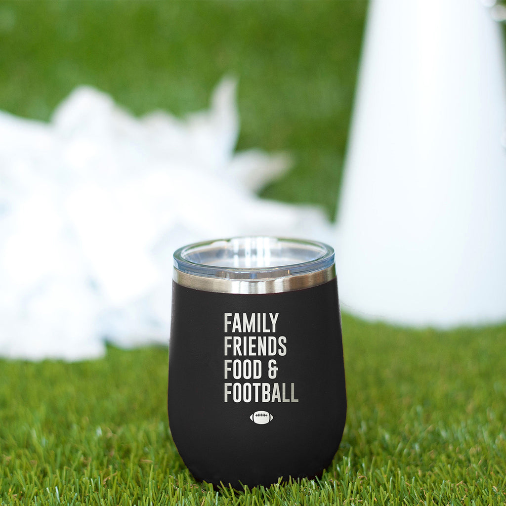 Family, Friends, Food, & Football Black 12oz Insulated Tumbler