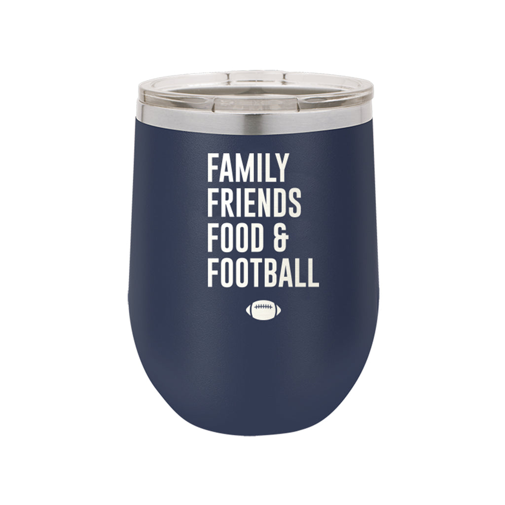 Family, Friends, Food, & Football Navy 12oz Insulated Tumbler