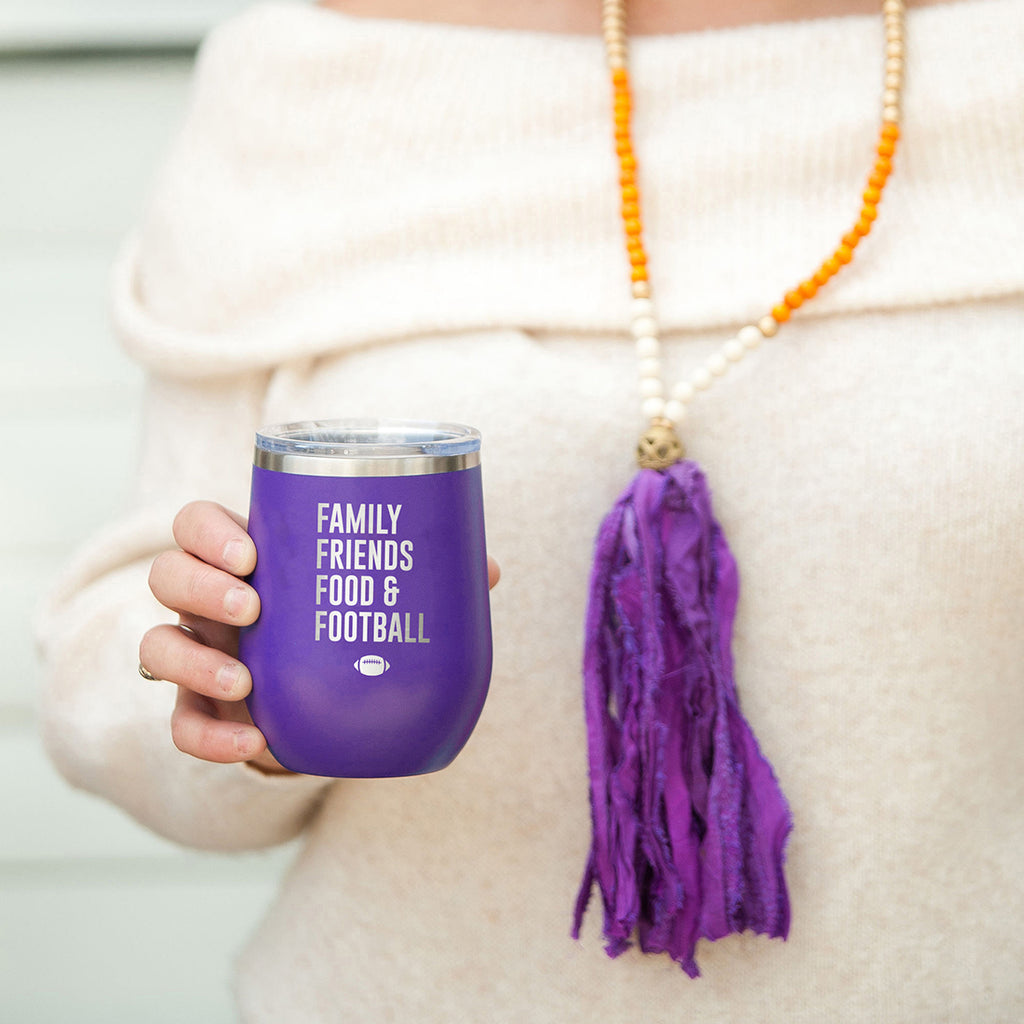 Family, Friends, Food, & Football Purple 12oz Insulated Tumbler