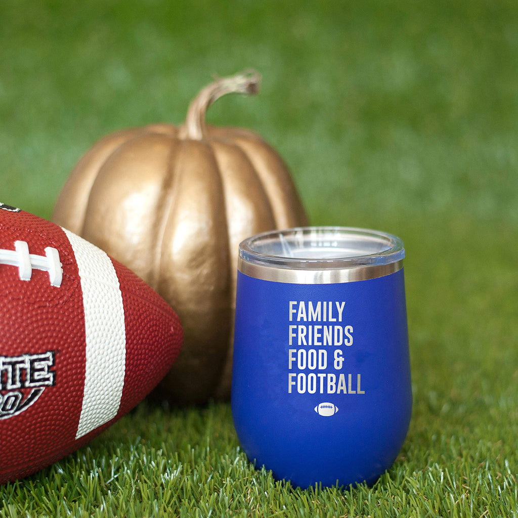 Family, Friends, Food, & Football Royal Blue 12oz Insulated Tumbler