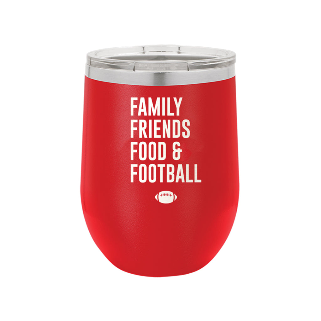 Family, Friends, Food, & Football Red 12oz Insulated Tumbler