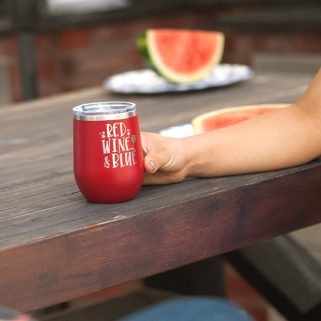 Red, Wine, and Blue Red 12oz Insulated Tumbler