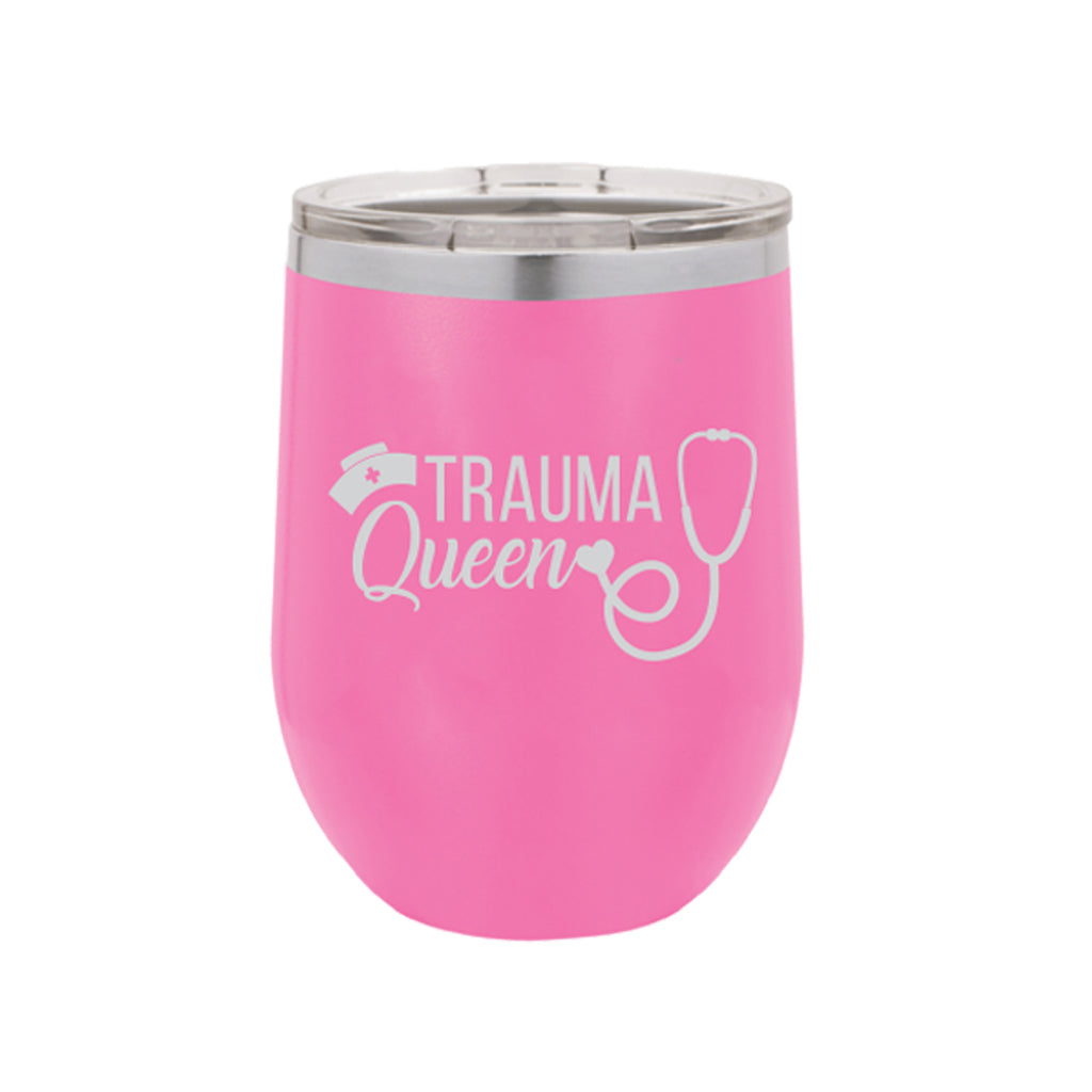 Trauma Queen 12oz Pink Tumbler