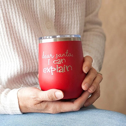 Red Dear Santa Christmas 12oz Insulated Tumbler