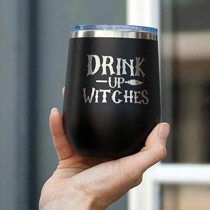 Black Drink Up Witches Halloween 12oz Insulated Tumbler