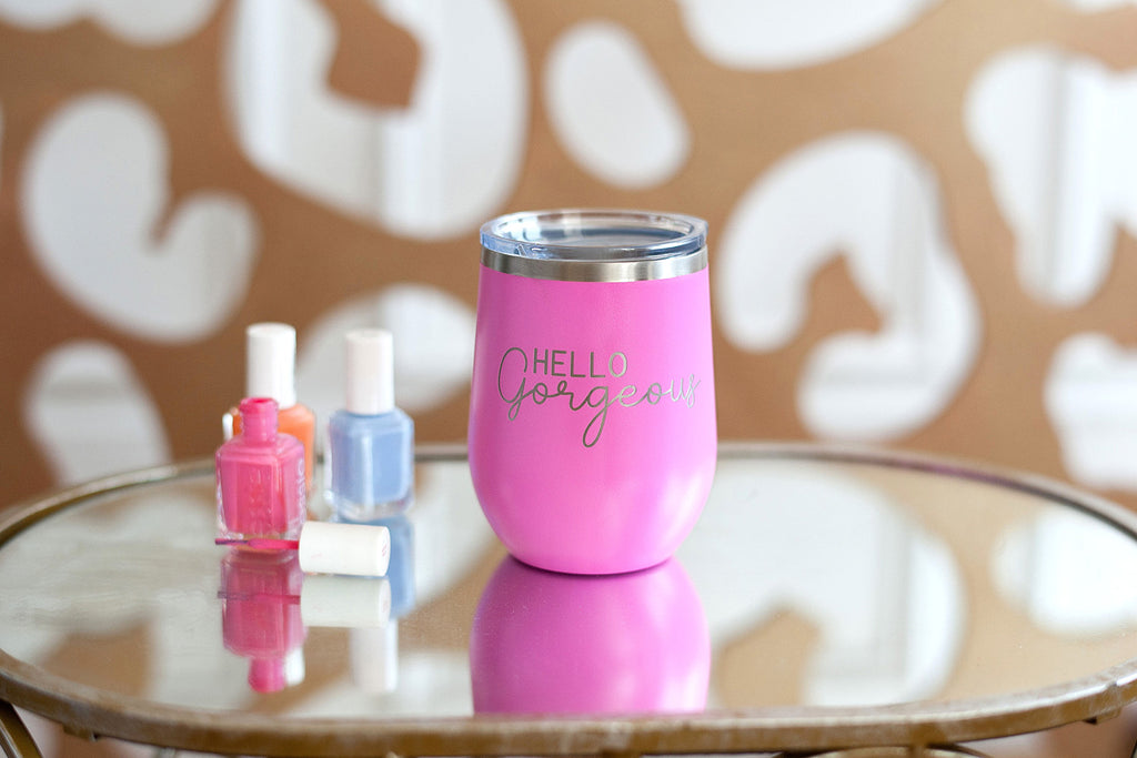 Pink Hello Gorgeous 12oz Insulated Tumbler