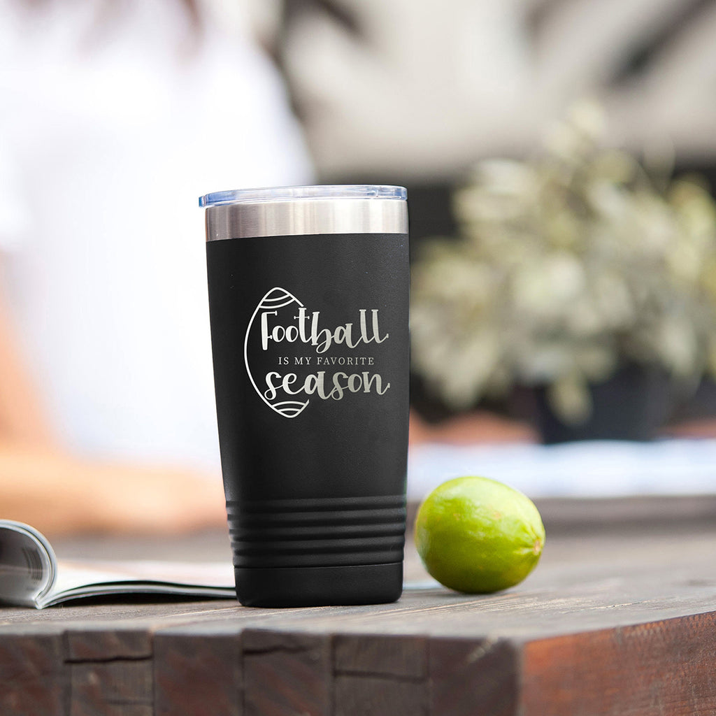 Football is My Favorite Season Black 20oz Insulated Tumbler