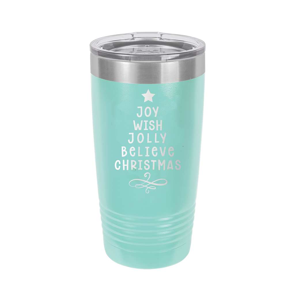 Joy, Wish, Jolly, Believe Christmas Tree Teal 20oz Insulated Tumbler