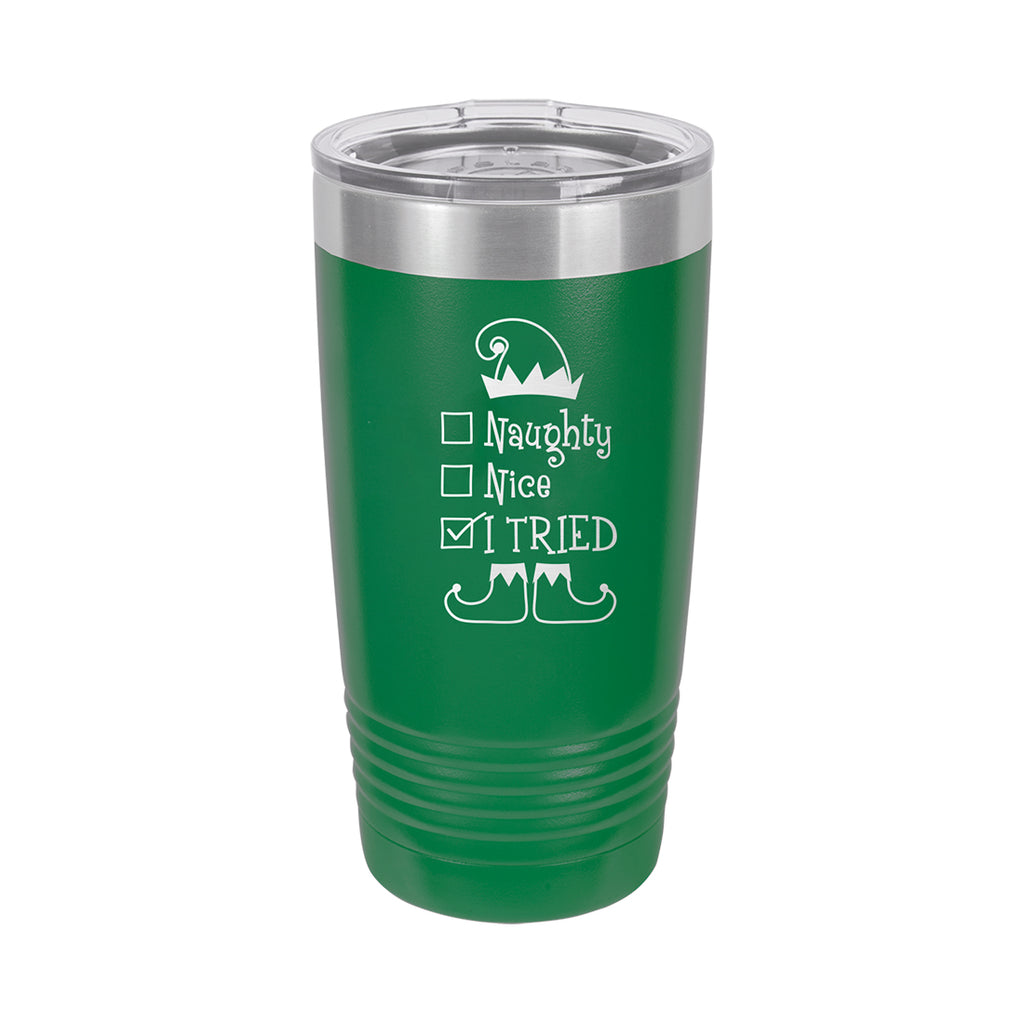 Naughty, Nice Green Christmas 20oz Insulated Tumbler