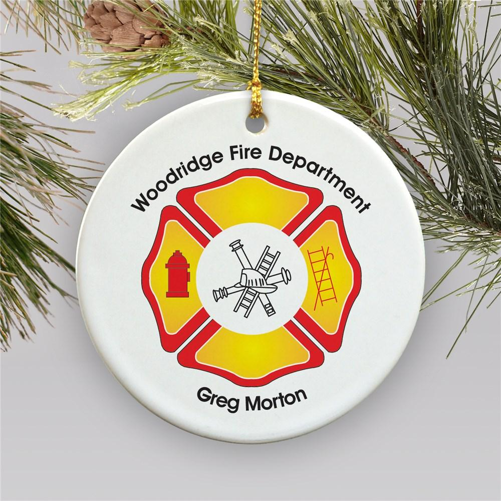 Personalized Ceramic Fire Department Christmas Ornament