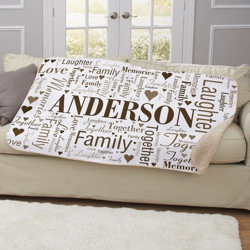 Personalized Family Word-Art Sherpa Blanket