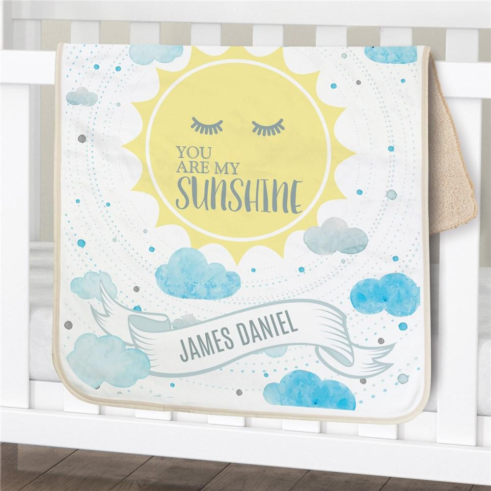 Personalized You Are My Sunshine Sherpa Baby Blanket