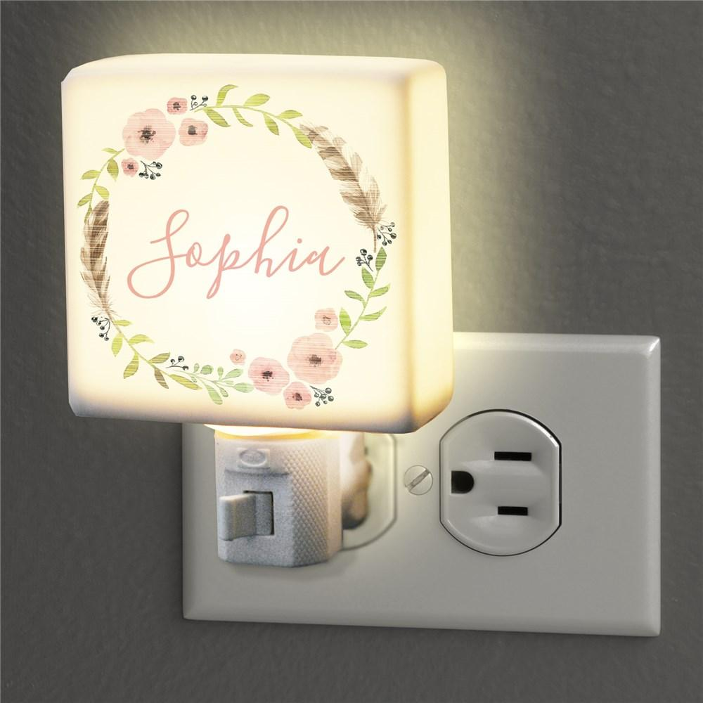 Personalized Flower Wreath Night Light