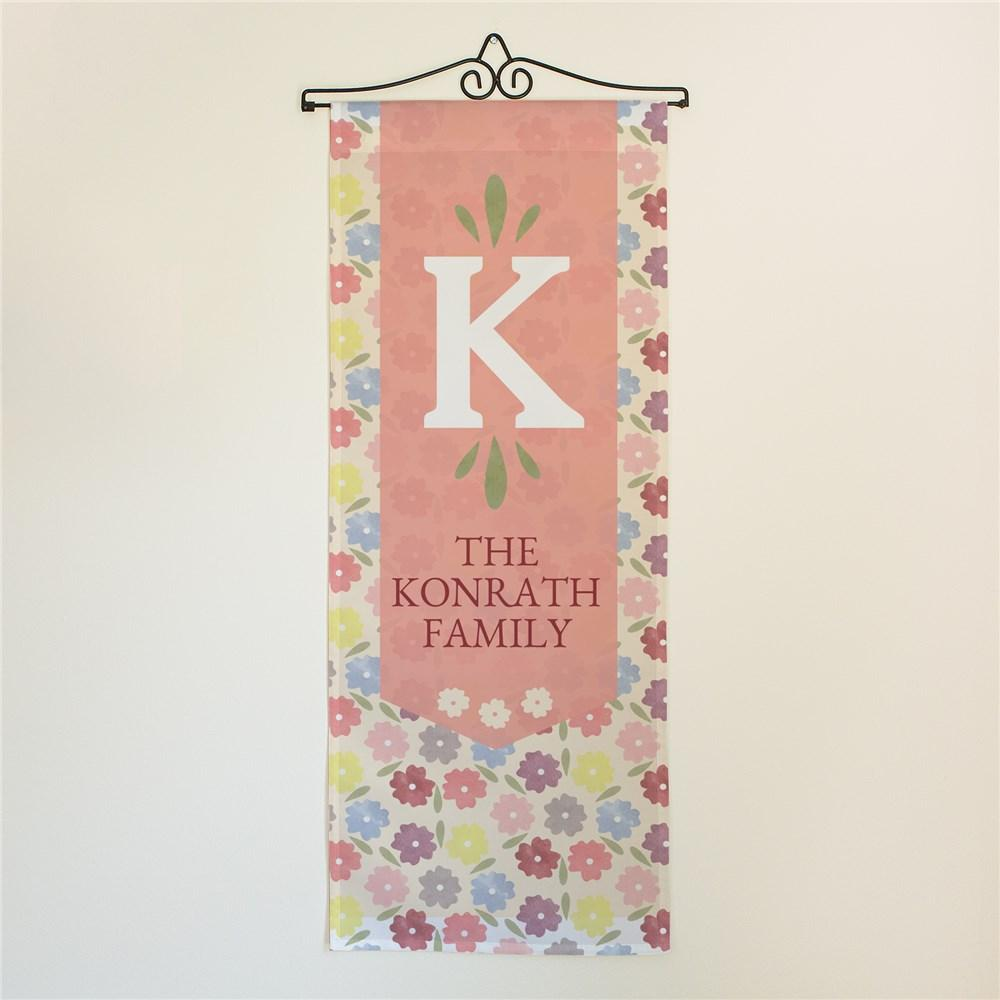 Personalized Welcome Family Pansy Floral Door Banner