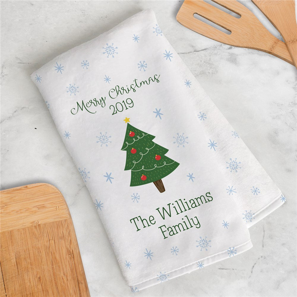 Personalized Family Name Christmas Tree Dish Towel