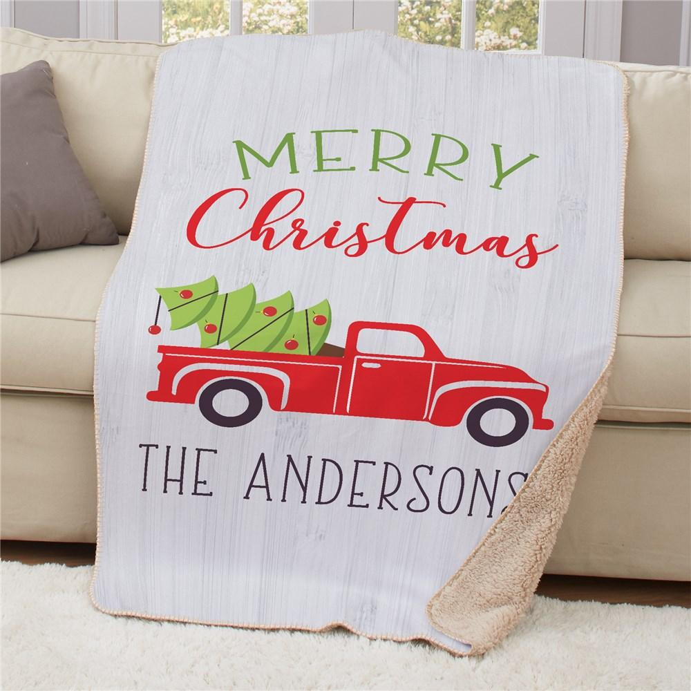 Personalized Merry Christmas Truck Sherpa Blanket