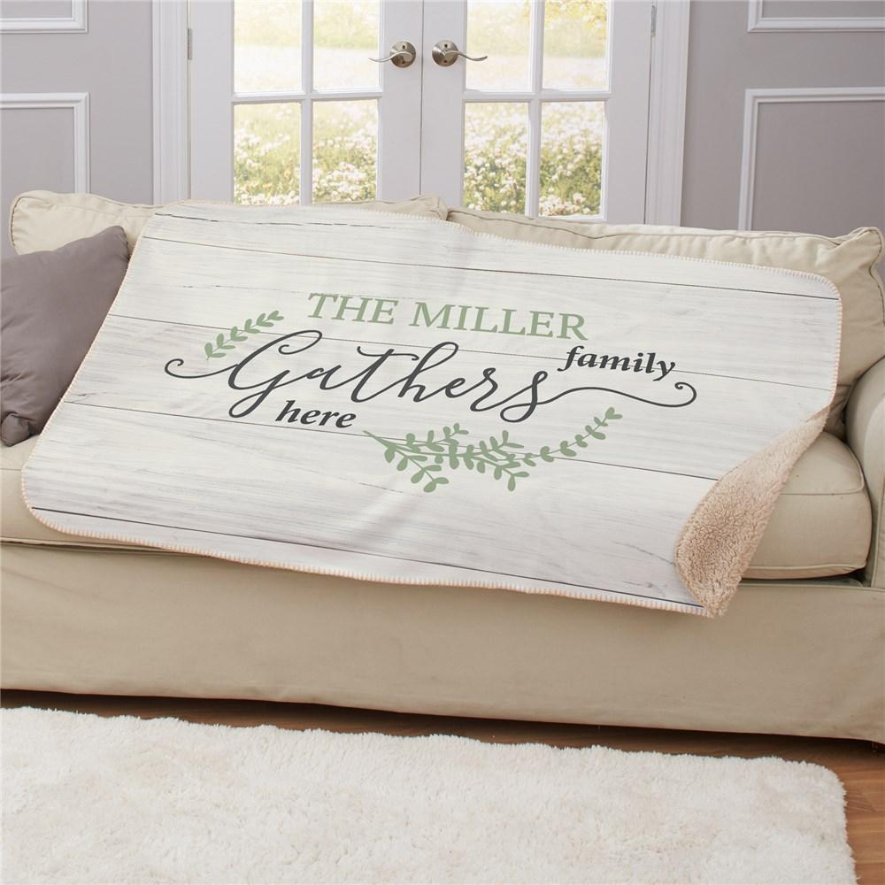 Personalized Gather Here Sherpa Throw