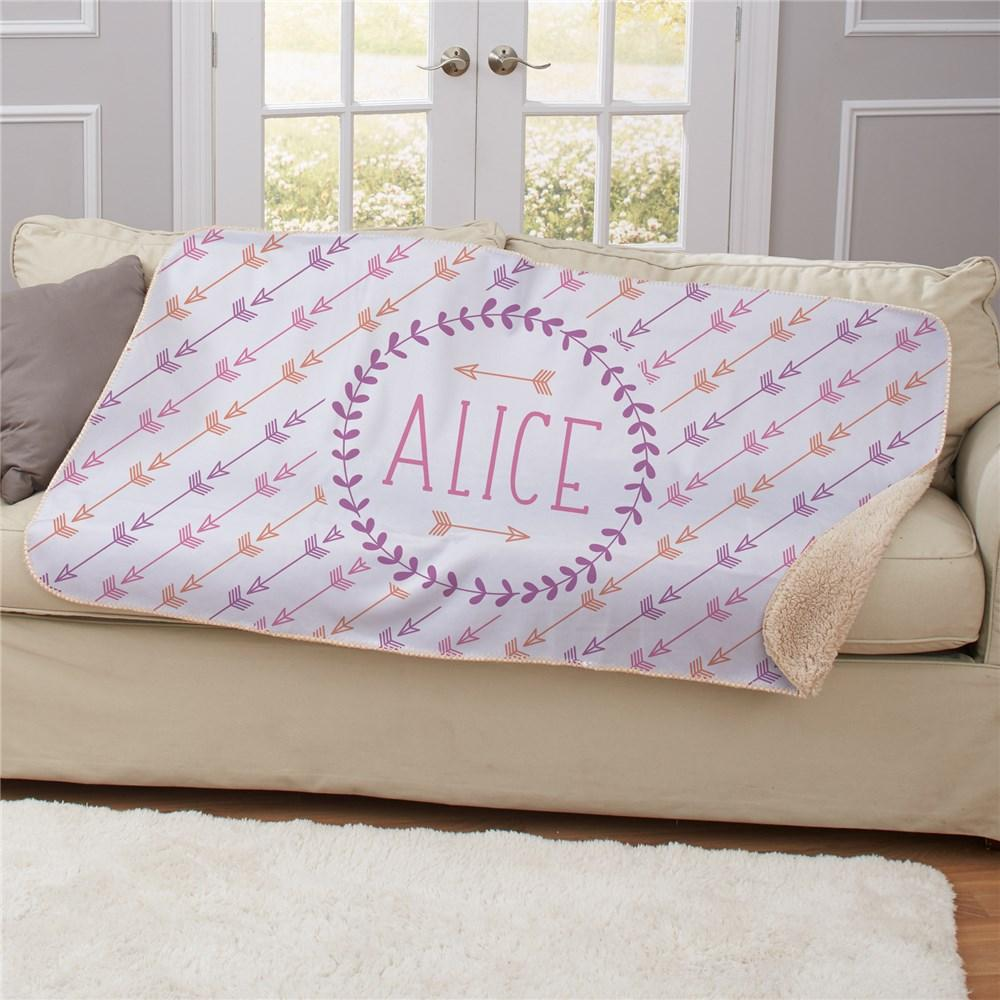 Personalized Arrows Sherpa Blanket - Valentine's Day Gift