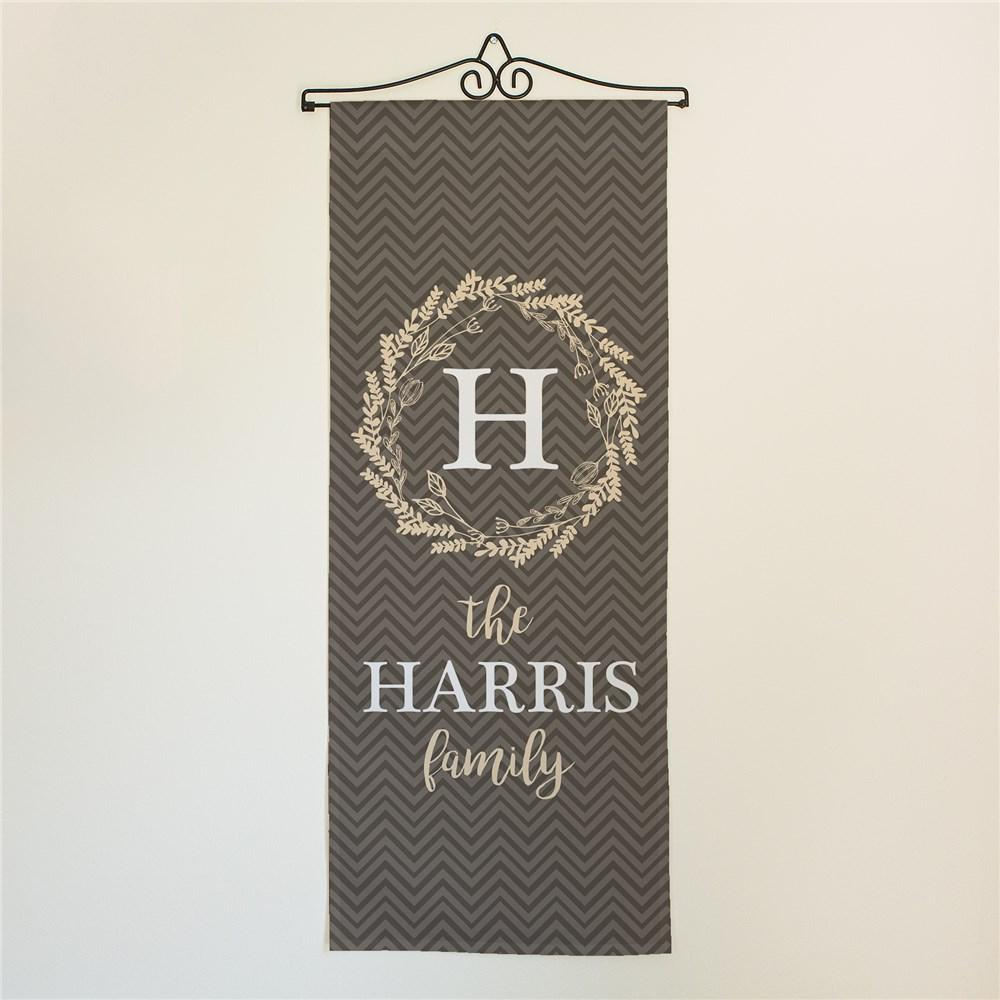 Personalized Chevron With Wreath Wall Hanging