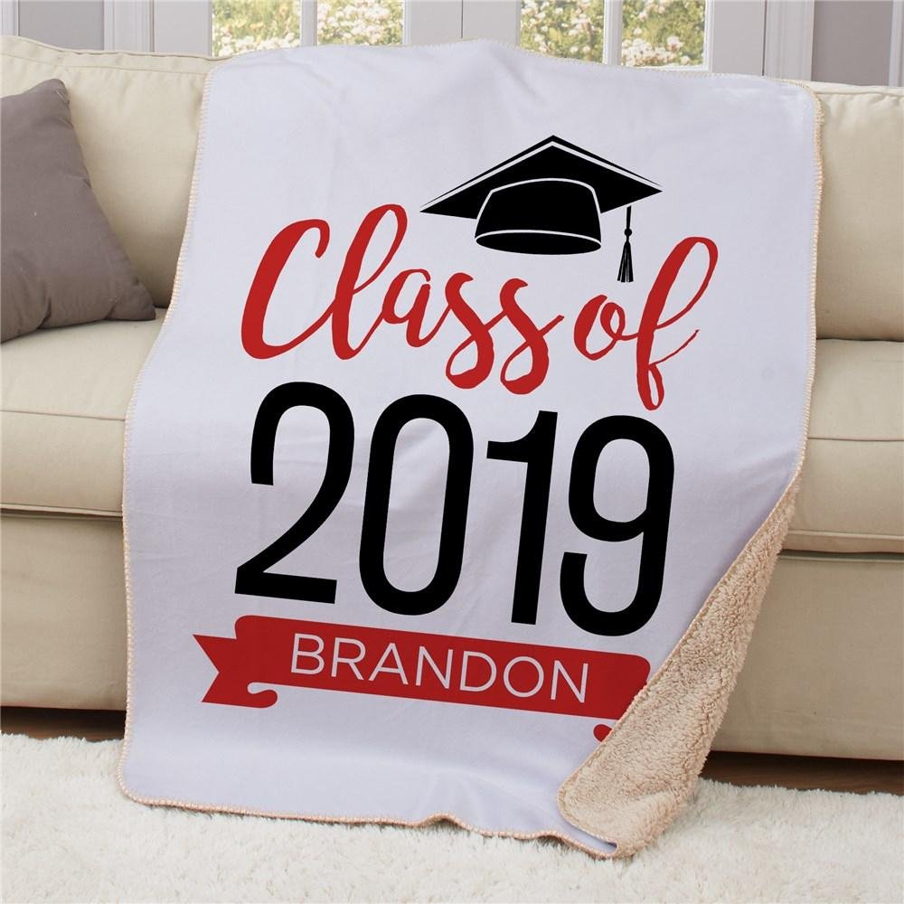Personalized Graduate Hat With Banner Sherpa Blanket