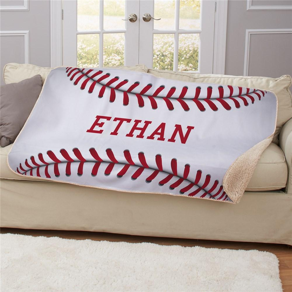 Personalized 50X60 Baseball Sherpa Blanket