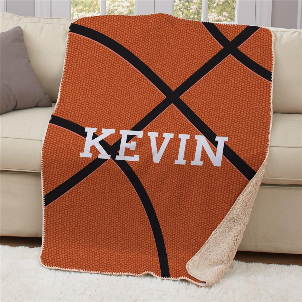 Personalized Basketball Sherpa Blanket