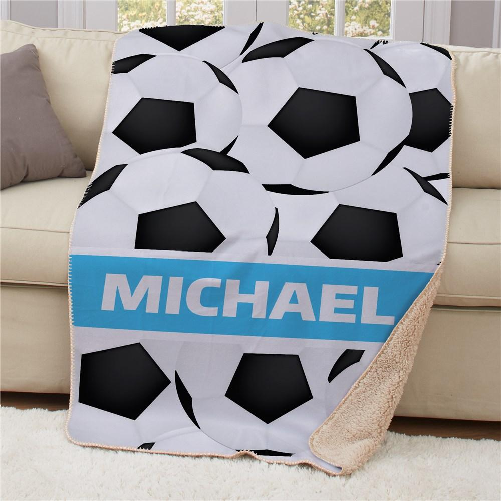Personalized 50X60 Soccer Sherpa Blanket