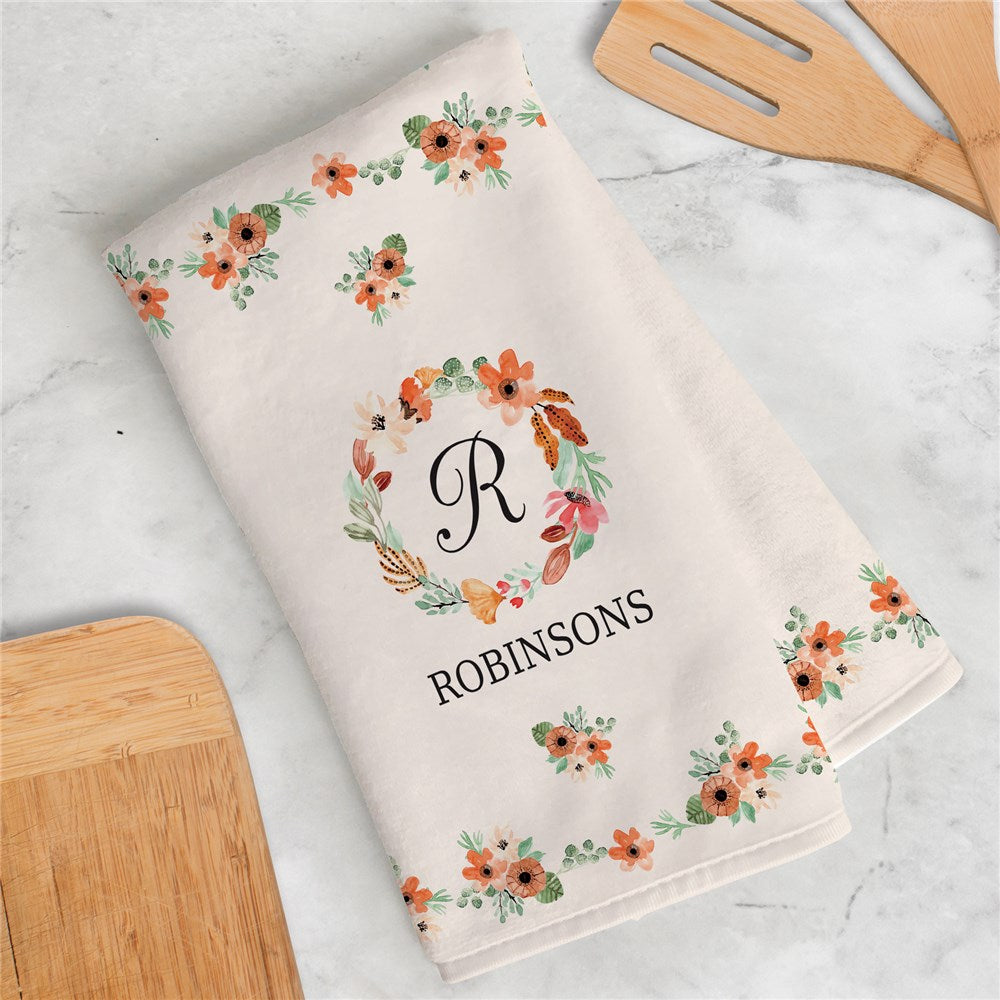 Personalized Watercolor Floral Wreath Dish Towel