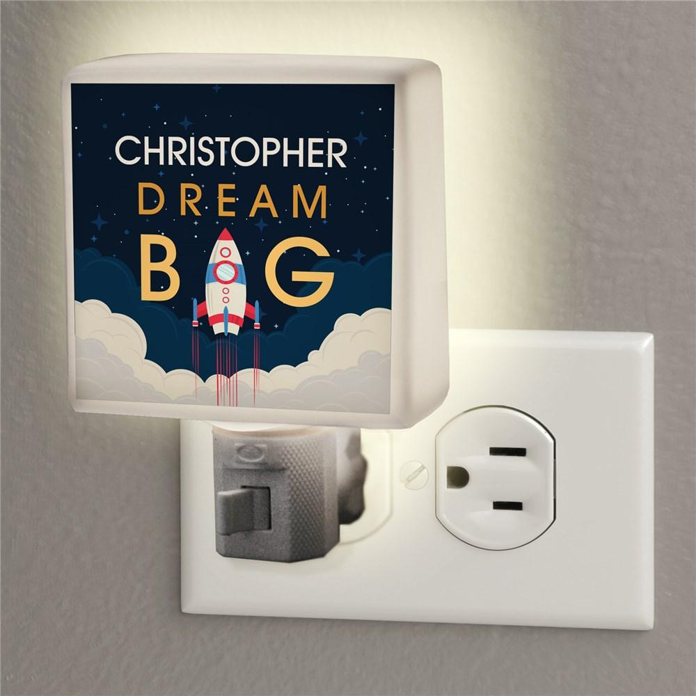 Personalized Dream Big Rocket Ship Night Light
