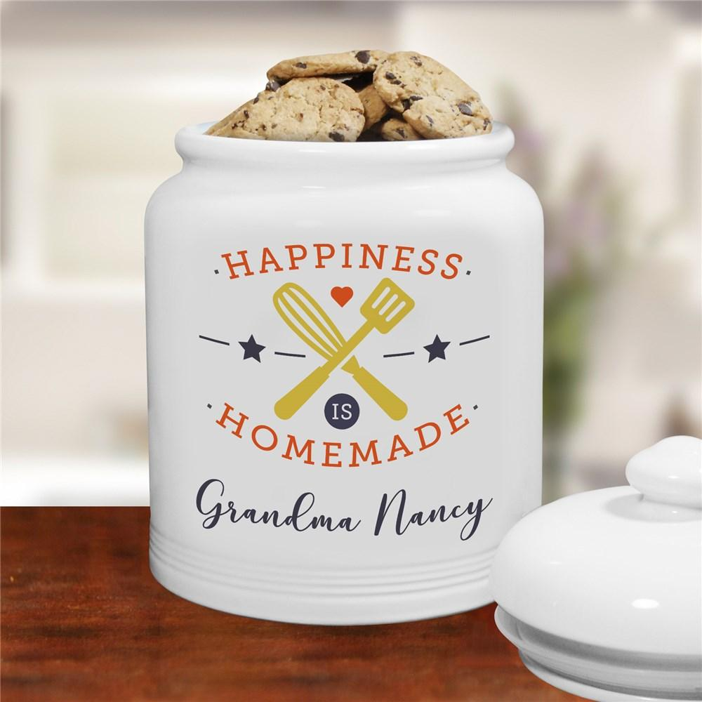 Personalized Happiness Is Homemade Ceramic Cookie Jar